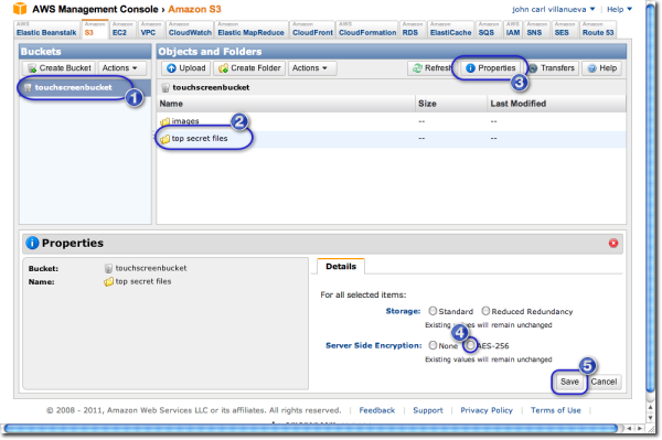 enable server side encryption in amazon s3