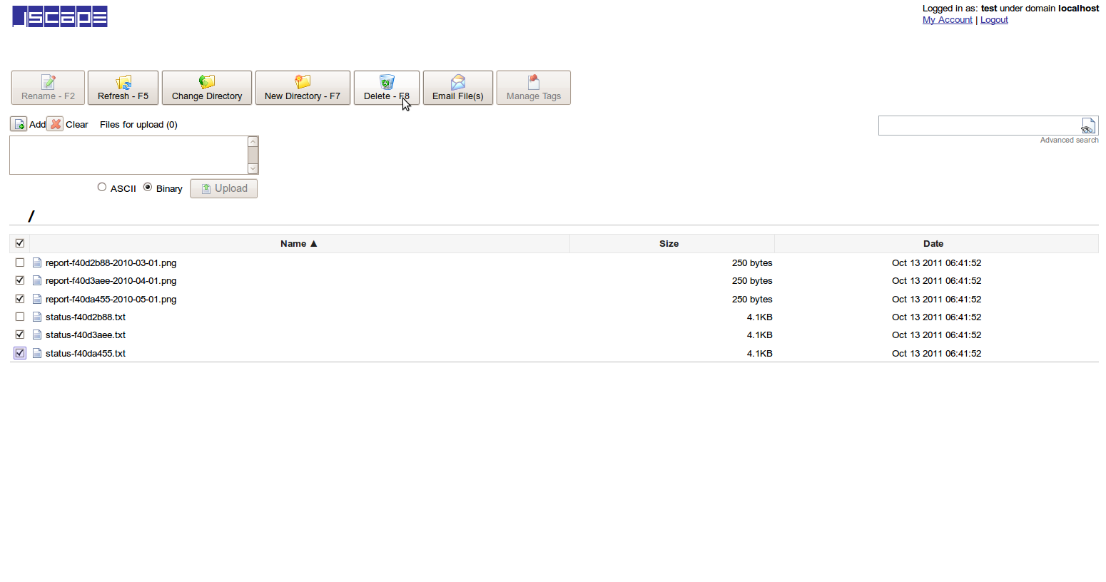 File Upload Interface Delete