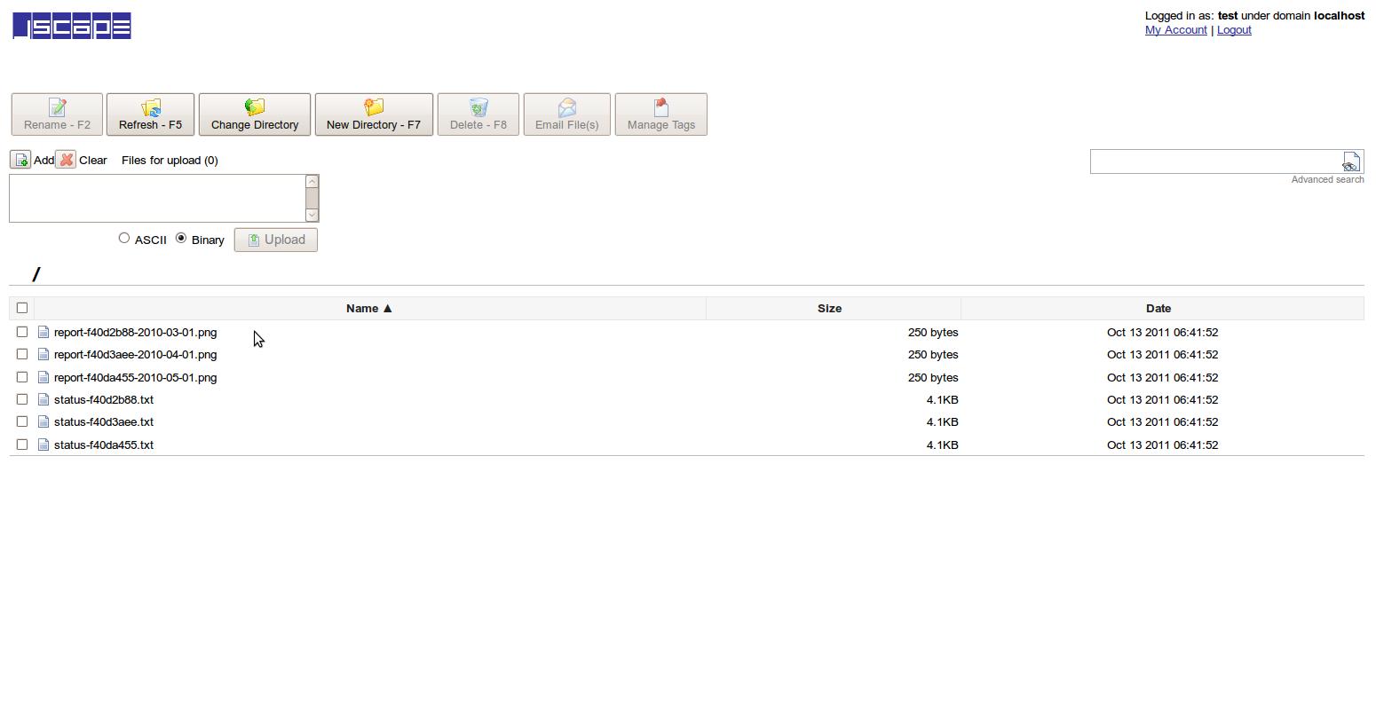 File Upload listing
