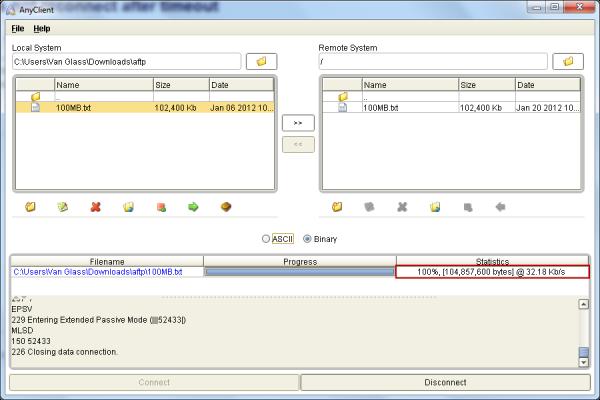 FTP latency 250 ms