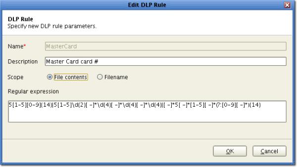 DLP regular expression