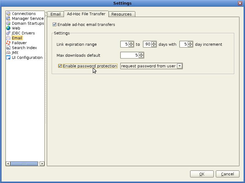 mft file settings email adhoc password