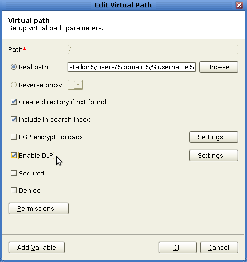 Enable DLP for Virtual Paths