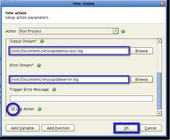 output error stream for virus update