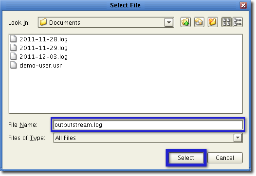 output stream log
