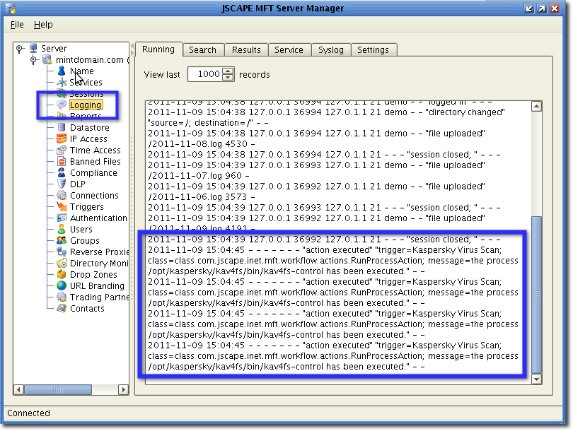 view virus scan in log