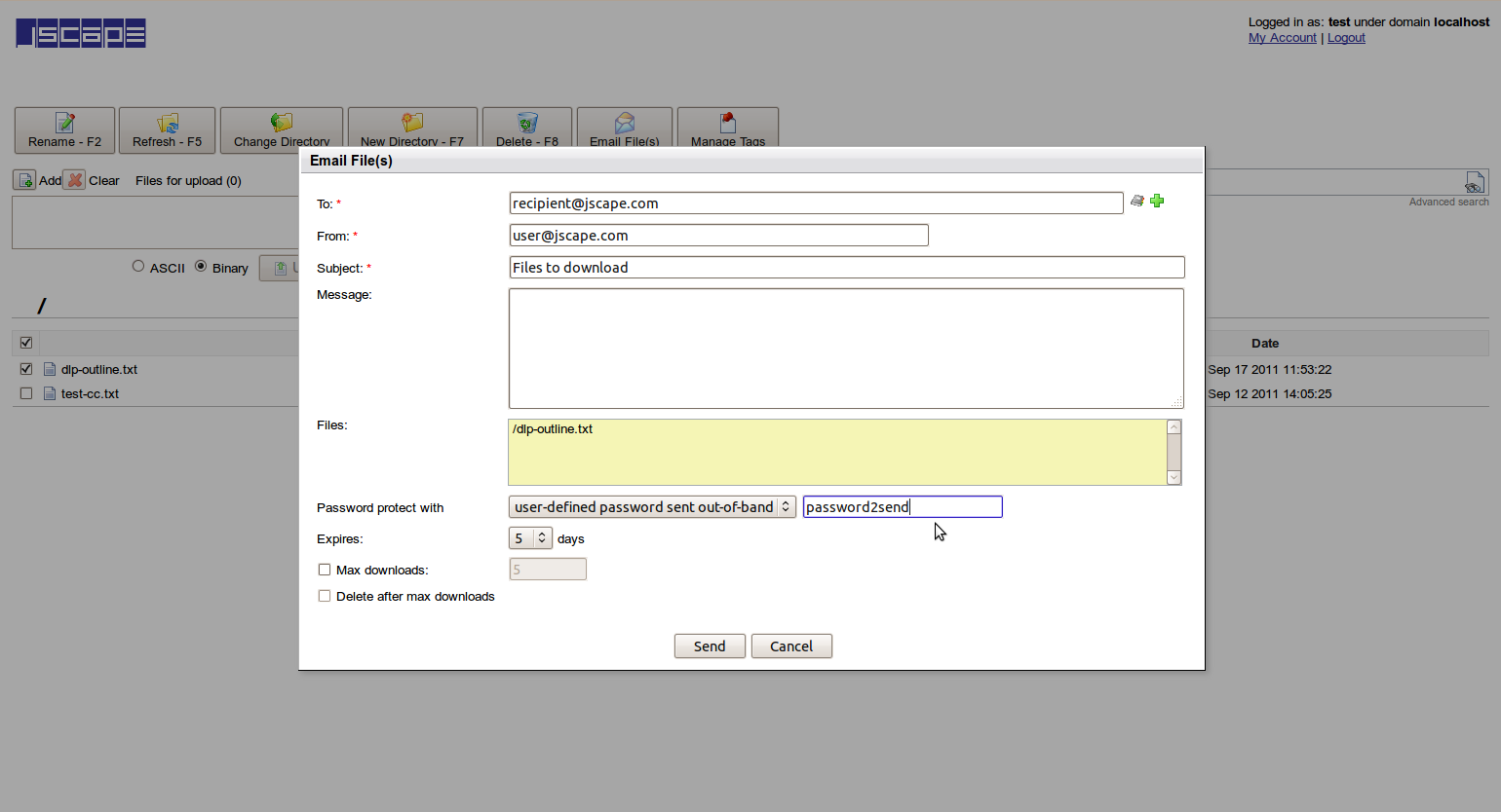 adhoc file transfer password out-of-band