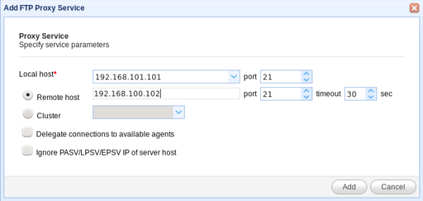 ftp reverse proxy service parameters