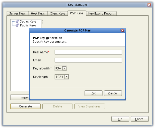 generating OpenPGP keys in JSCAPE MFT Server