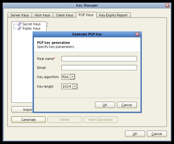 generating OpenPGP keys in JSCAPE MFT Server
