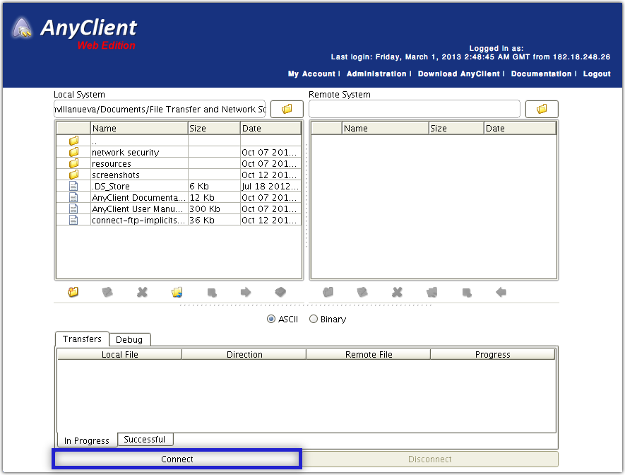 anyclient web edition connect