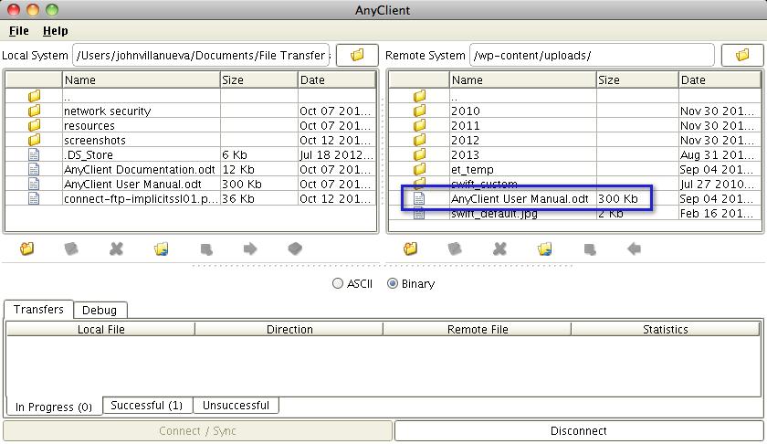 09 ftp client uploaded file