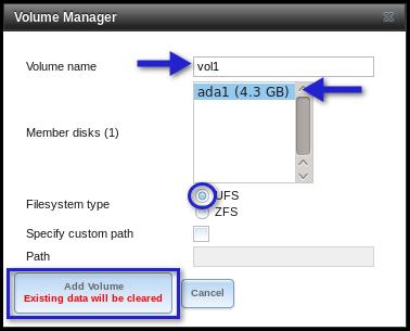 freenas volume manager settings