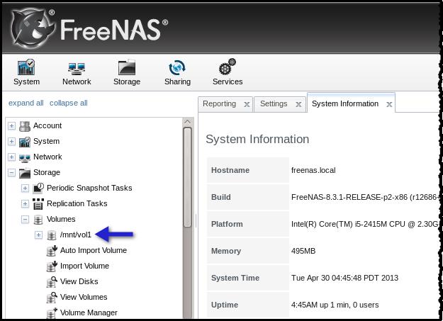 freenas newly added volume