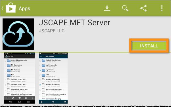 jscape mft server android app install