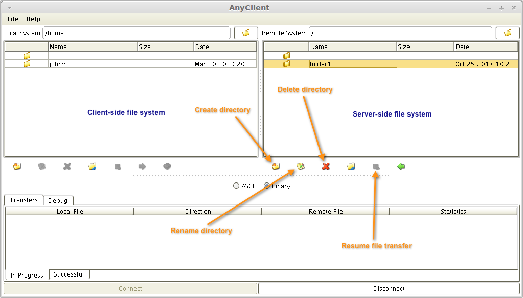 sftp server side filesystem