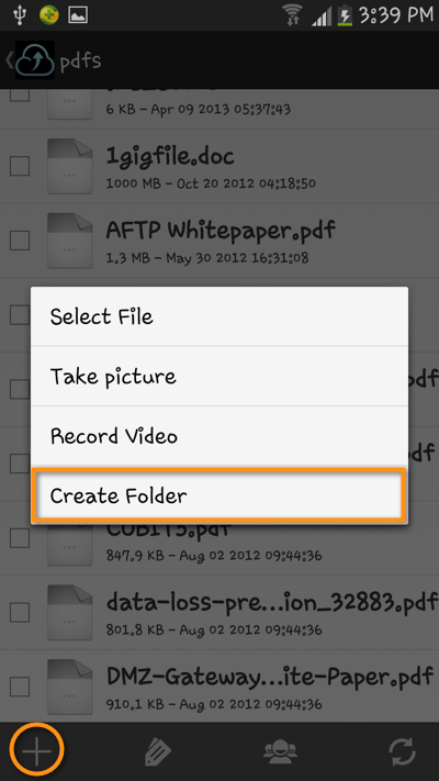 android file transfer create folder select file