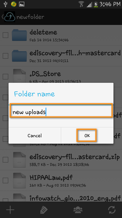 android file transfer create new folder1