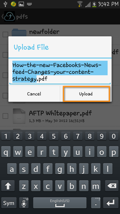 android file transfer upload file rename