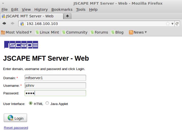jscape mft server non sso login