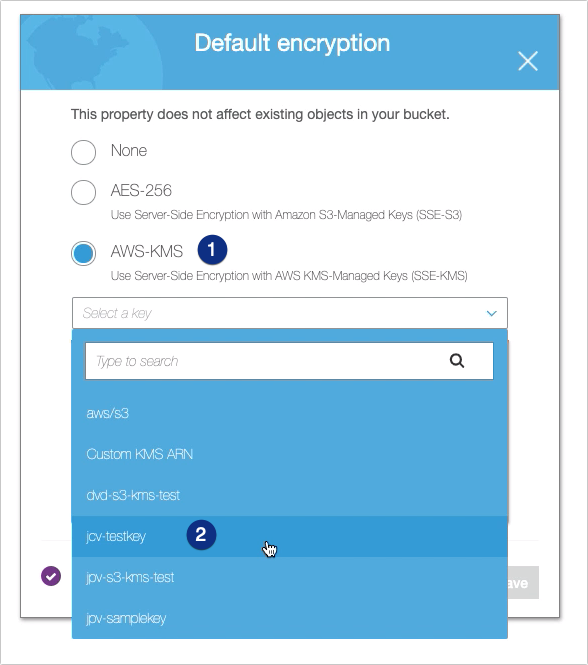 AWS KMS To Encrypt Files You Upload To Your S3 - select default encryption