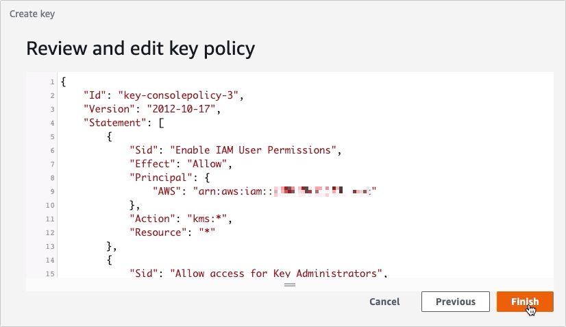 Using AWS KMS To Encrypt Files You Upload To Your S3 Trading Partner - create key finish