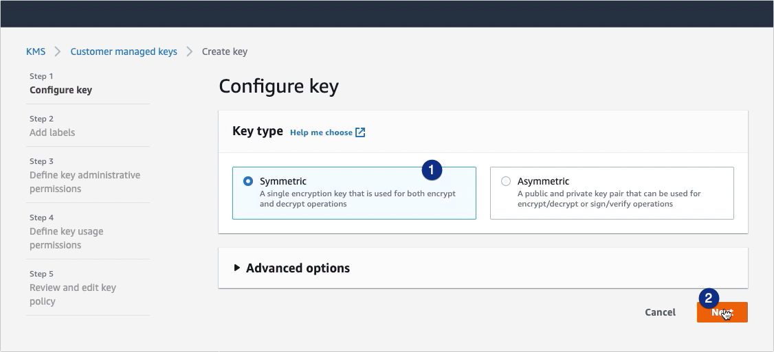 Using AWS KMS To Encrypt Files You Upload To Your S3 Trading Partner - create symmetric key