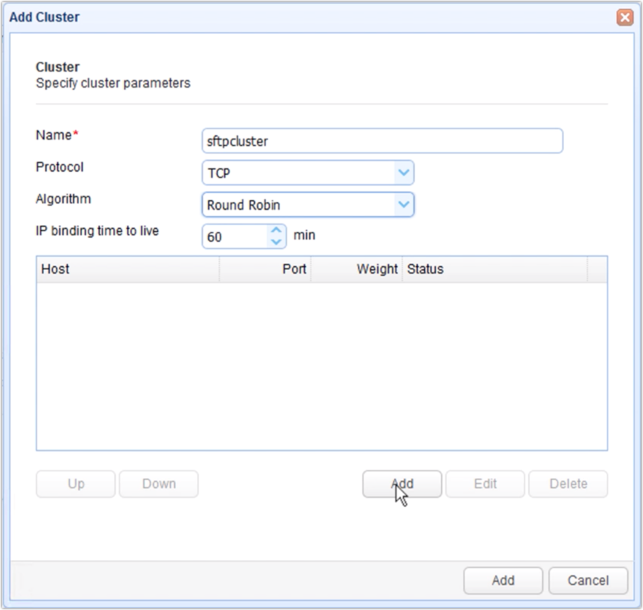 add host 1 to the high availability cluster