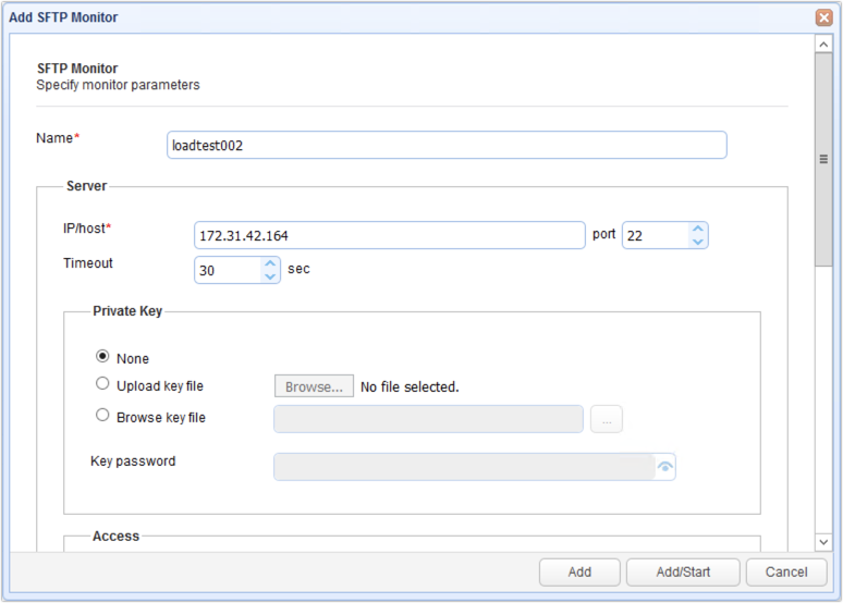 add sftp monitor for load test