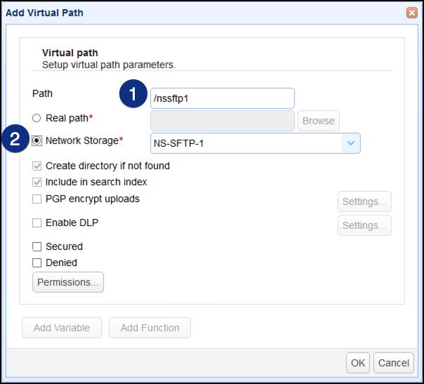 add virtual path for sftp network storage