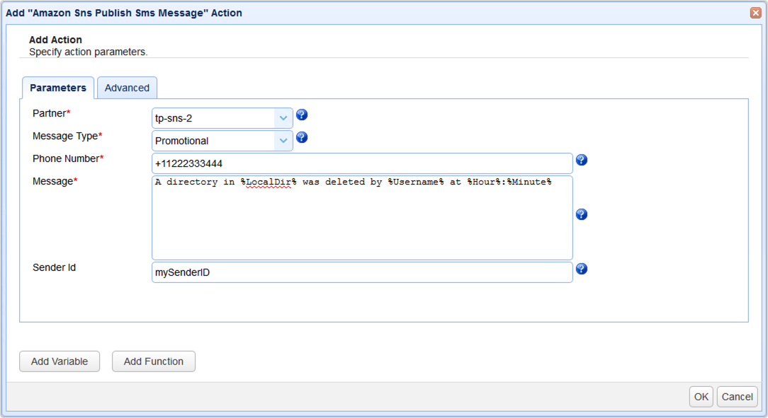 amazon sns publish sms message action parameters