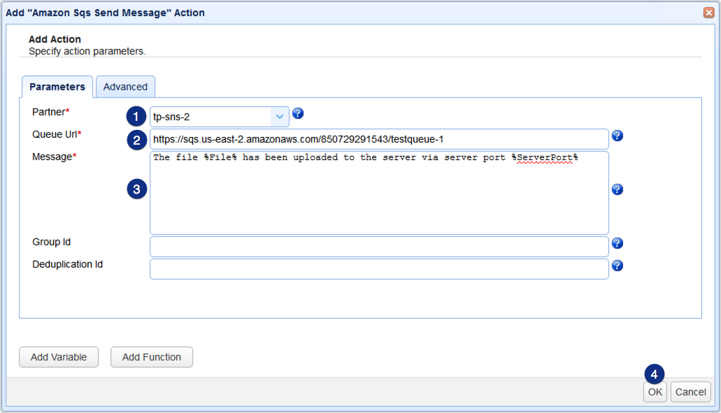amazon sqs send message action parameters