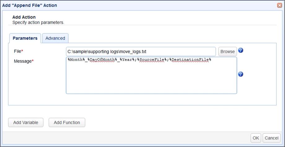 append file action parameters