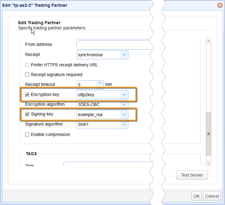 as2 trading partner encryption and signature keys