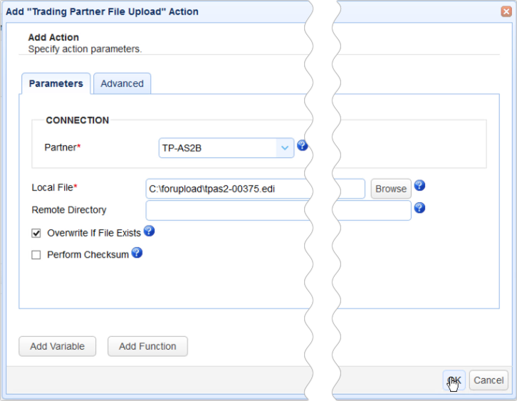 as2 transfer trigger action add file upload parameters