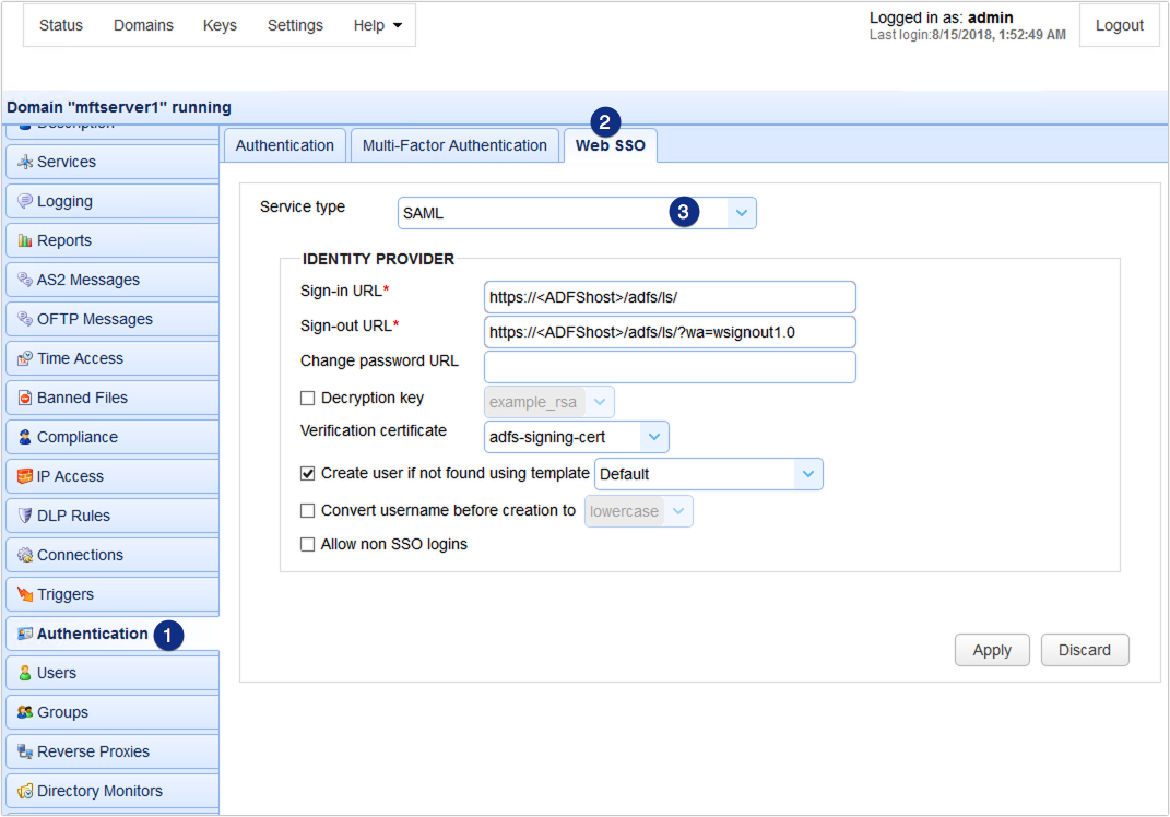 Using ADFS 3 0 as IdP for Web SSO SAML on JSCAPE MFT Server