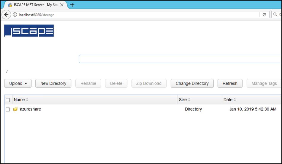 azure file share in web file transfer gui