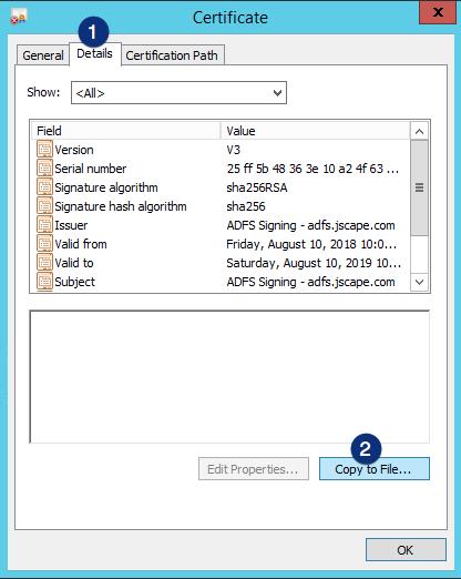 ADFS certificate details