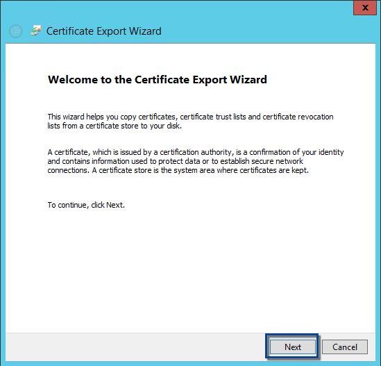 ADFS certificate export wizard