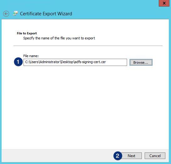 ADFS certificate export wizard file to export