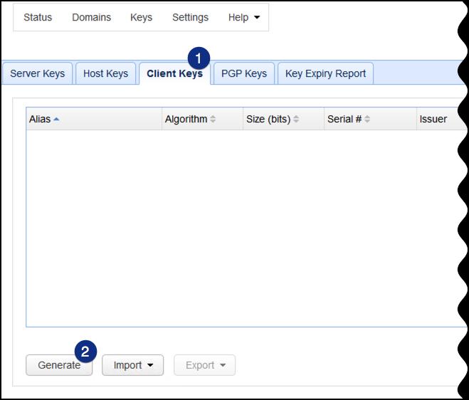 client keys generate mft server