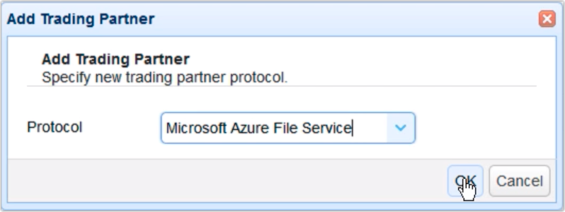 copy data from azure to s3 - add trading partner azure file service
