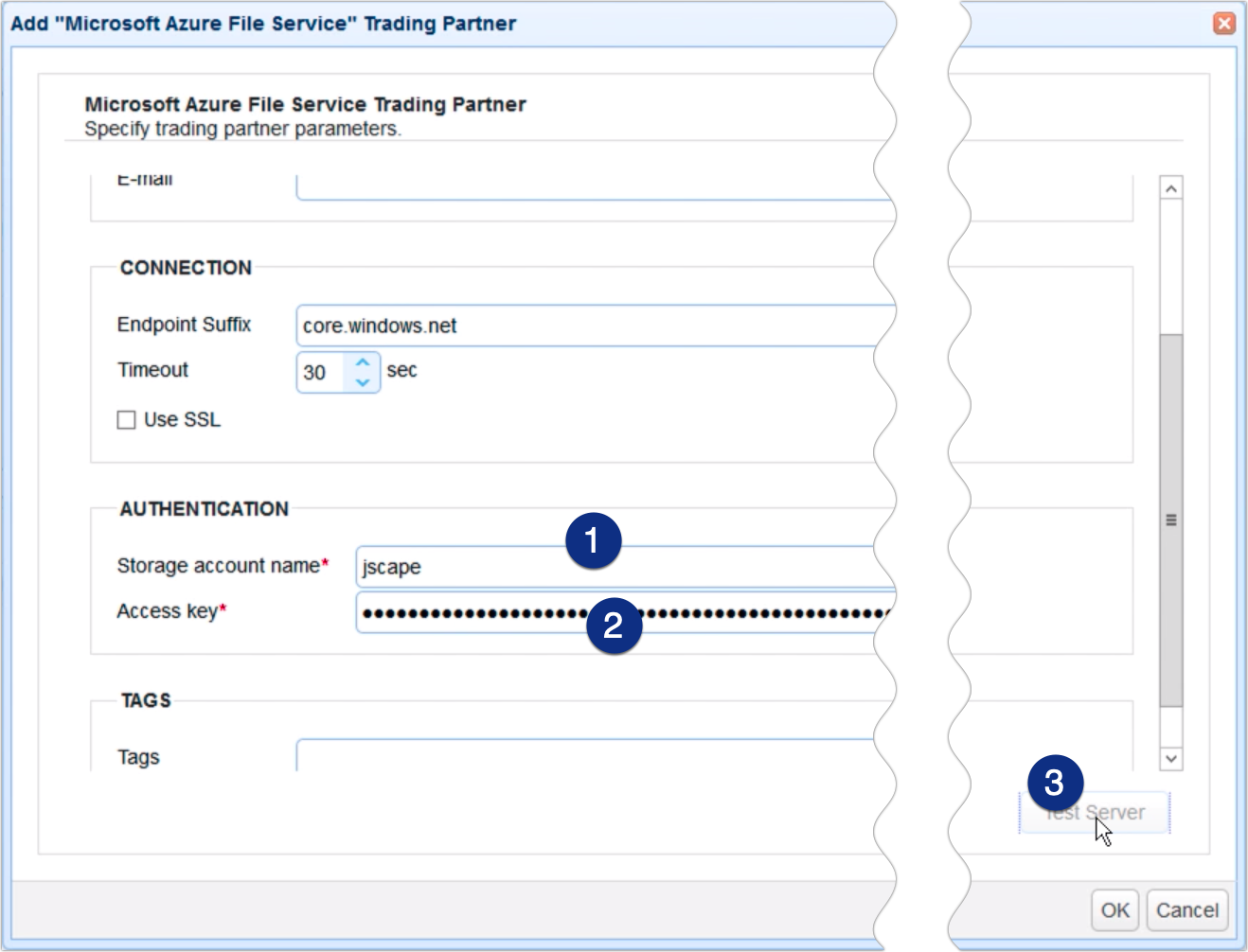 copy data from azure to s3 - trading partner azure file service parameters 2