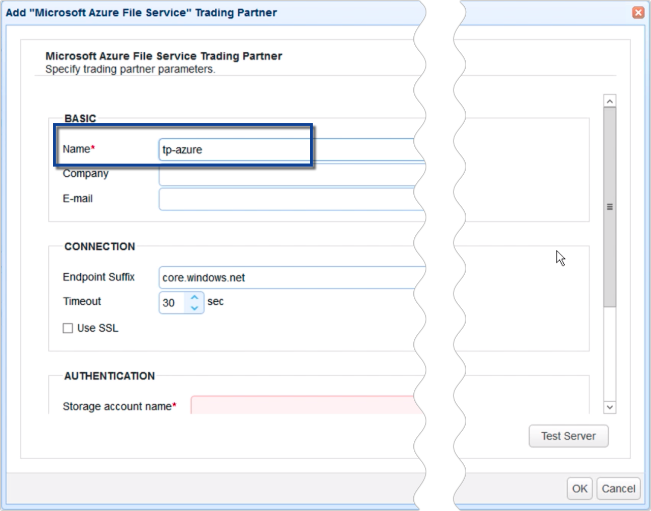 copy data from azure to s3 - trading partner azure file service parameters
