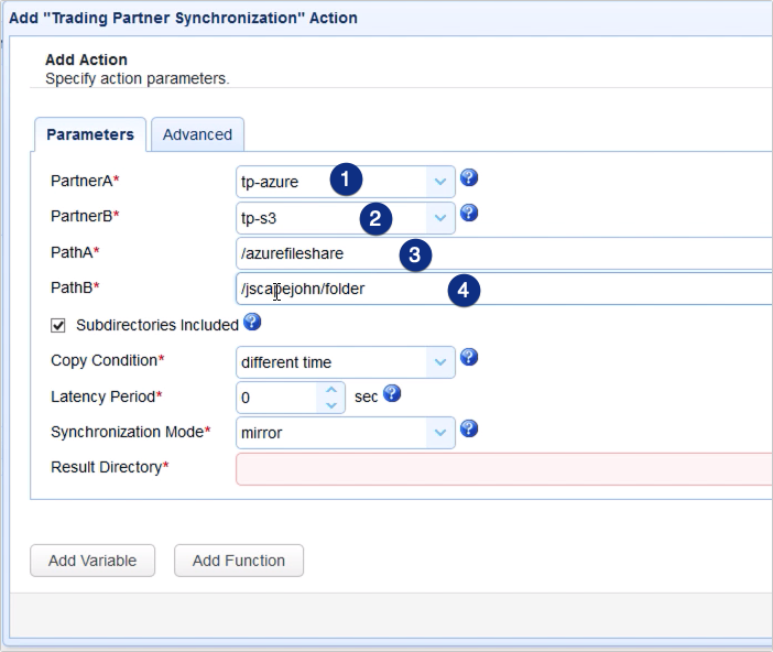 copy data from azure to s3 - trading partner synchronization action parameters