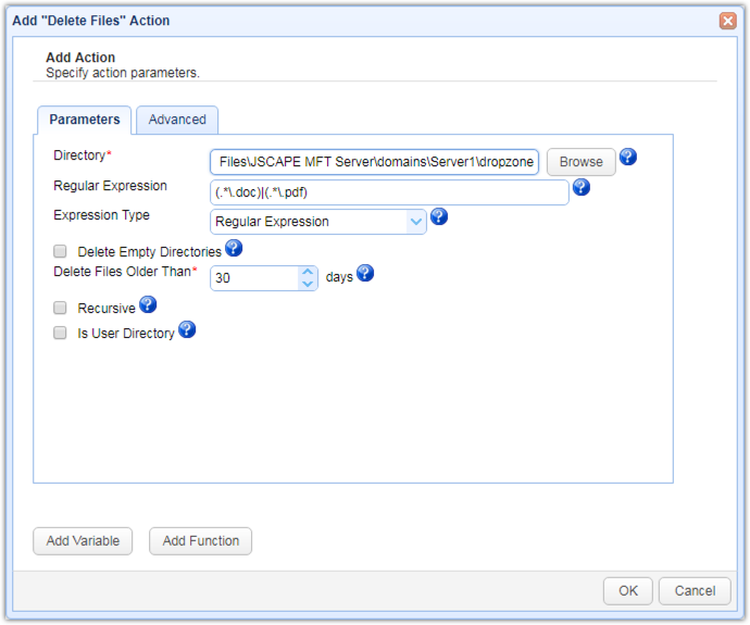 delete file action parameters