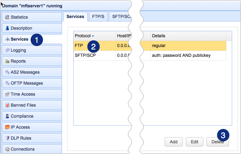 delete ftp regular service from mft server
