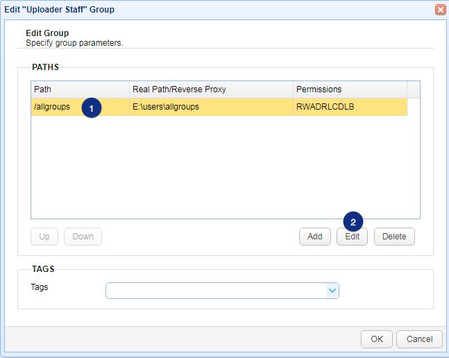 edit uploader staff path mft server