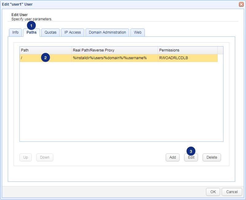 edit user select virtual path