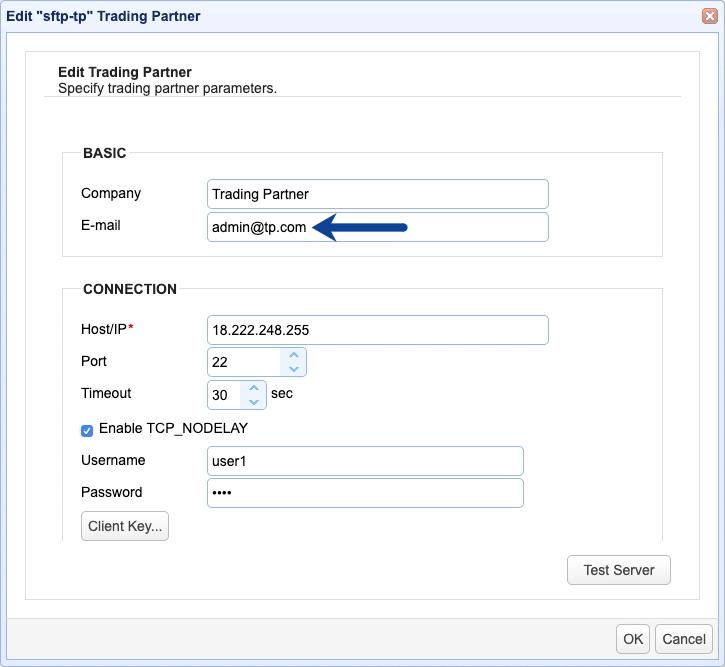 email setting trading partner
